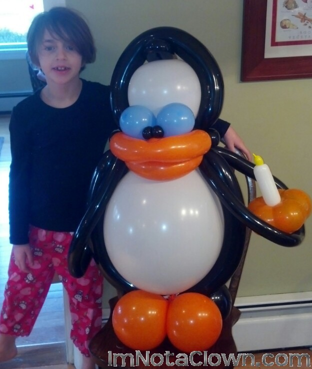 A penguin for a birthday party.